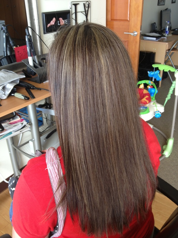 Caramel highlights with dark chocolate all over color